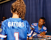 Florida sophomore receiver Solomon Patton signs an autograph during the Gators' annual Fan Day event on Saturday, August 20, 2011 at the Stephen C. O'Connell Center in Gainesville, Fla. / Gator Country photo by Tim Casey