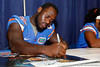 Florida sophomore safety Matt Elam signs an autpgraph during the Gators' annual Fan Day event on Saturday, August 20, 2011 at the Stephen C. O'Connell Center in Gainesville, Fla. / Gator Country photo by Tim Casey