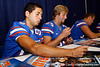 Florida sophomore kicker Francisco Velez signs an autograph during the Gators' annual Fan Day event on Saturday, August 20, 2011 at the Stephen C. O'Connell Center in Gainesville, Fla. / Gator Country photo by Tim Casey