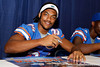Florida junior free safety Josh Evans signs an autograph during the Gators' annual Fan Day event on Saturday, August 20, 2011 at the Stephen C. O'Connell Center in Gainesville, Fla. / Gator Country photo by Tim Casey