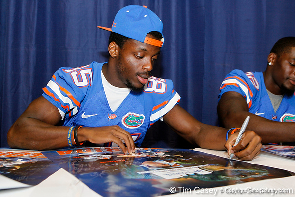 Florida redshirt junior receiver Frankie Hammond Jr. signs an autograph during the Gators' annual Fan Day event on Saturday, August 20, 2011 at the Stephen C. O'Connell Center in Gainesville, Fla. / Gator Country photo by Tim Casey