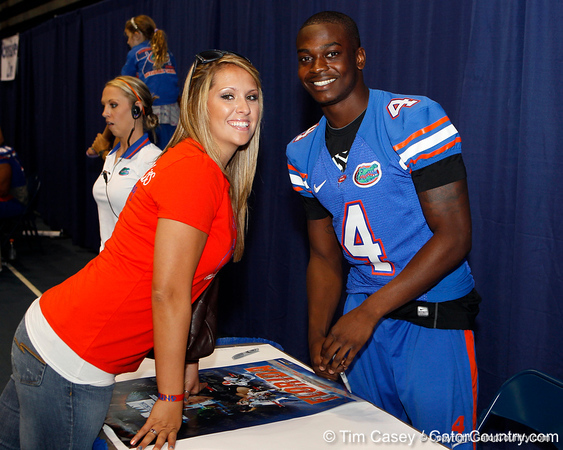 Florida redshirt sophomore receiver Andre Debose poses for a photo during the Gators' annual Fan Day event on Saturday, August 20, 2011 at the Stephen C. O'Connell Center in Gainesville, Fla. / Gator Country photo by Tim Casey