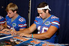 Florida sophomore longsnapper Drew Ferris signs an autpgraph during the Gators' annual Fan Day event on Saturday, August 20, 2011 at the Stephen C. O'Connell Center in Gainesville, Fla. / Gator Country photo by Tim Casey