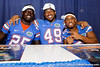 Florida redshirt freshman linebacker Gideon Ajagbe, sophomore linebacker Darrin Kitchens and redshirt freshman linebacker Michael Taylor pose for a photo during the Gators' annual Fan Day event on Saturday, August 20, 2011 at the Stephen C. O'Connell Center in Gainesville, Fla. / Gator Country photo by Tim Casey