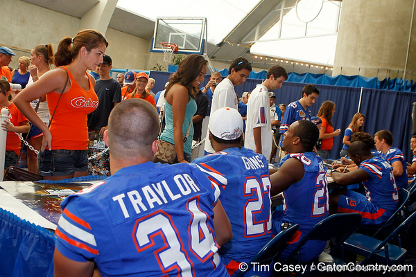 Florida fans line up for autographs during the Gators' annual Fan Day event on Saturday, August 20, 2011 at the Stephen C. O'Connell Center in Gainesville, Fla. / Gator Country photo by Tim Casey