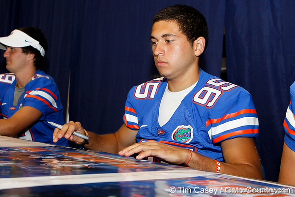 Florida sophomore kicker Francisco Velez signs a autograph during the Gators' annual Fan Day event on Saturday, August 20, 2011 at the Stephen C. O'Connell Center in Gainesville, Fla. / Gator Country photo by Tim Casey