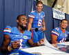 Florida redshirt senior running back Chris Rainey and sophomore running back Trey Burton laugh during the Gators' annual Fan Day event on Saturday, August 20, 2011 at the Stephen C. O'Connell Center in Gainesville, Fla. / Gator Country photo by Tim Casey