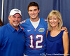Florida redshirt senior quarterback John Brantley poses for a photo with his parents during the Gators' annual Fan Day event on Saturday, August 20, 2011 at the Stephen C. O'Connell Center in Gainesville, Fla. / Gator Country photo by Tim Casey