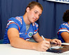 Florida sophomore fullback Jesse Schmitt signs an autograph during the Gators' annual Fan Day event on Saturday, August 20, 2011 at the Stephen C. O'Connell Center in Gainesville, Fla. / Gator Country photo by Tim Casey