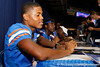 Florida freshman cornerback Marcus Roberson signs an autograph during the Gators' annual Fan Day event on Saturday, August 20, 2011 at the Stephen C. O'Connell Center in Gainesville, Fla. / Gator Country photo by Tim Casey