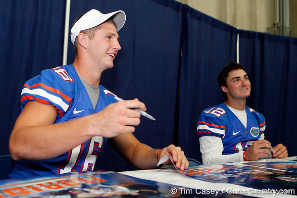 Florida freshman quarterback Jeff Driskel talks with a fan during the Gators' annual Fan Day event on Saturday, August 20, 2011 at the Stephen C. O'Connell Center in Gainesville, Fla. / Gator Country photo by Tim Casey