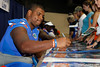 Florida redshirt junior defensive tackle Omar Hunter signs an autograph during the Gators' annual Fan Day event on Saturday, August 20, 2011 at the Stephen C. O'Connell Center in Gainesville, Fla. / Gator Country photo by Tim Casey