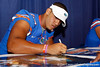 Florida freshman tight end Clay Burton signs an autograph during the Gators' annual Fan Day event on Saturday, August 20, 2011 at the Stephen C. O'Connell Center in Gainesville, Fla. / Gator Country photo by Tim Casey