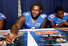 Florida sophomore defensive tackle Sharrif Floyd signs an autograph during the Gators' annual Fan Day event on Saturday, August 20, 2011 at the Stephen C. O'Connell Center in Gainesville, Fla. / Gator Country photo by Tim Casey
