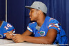 Florida sophomore cornerback Cody Riggs talks with a teammate during the Gators' annual Fan Day event on Saturday, August 20, 2011 at the Stephen C. O'Connell Center in Gainesville, Fla. / Gator Country photo by Tim Casey