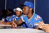 Florida sophomore cornerback Jaylen Watkins talks with a fan during the Gators' annual Fan Day event on Saturday, August 20, 2011 at the Stephen C. O'Connell Center in Gainesville, Fla. / Gator Country photo by Tim Casey