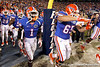 Florida redshirt senior running back Chris Rainey and freshman guard Tommy Jordan run onto the field before the Gators' 38-10 loss to the Alabama Crimson Tide on Saturday, October 1, 2011 at Ben Hill Griffin Stadium in Gainesville, Fla. / Gator Country photo by Tim Casey