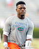 Florida freshman linebacker Chris Johnson warms up before the Gators' 38-10 loss to the Alabama Crimson Tide on Saturday, October 1, 2011 at Ben Hill Griffin Stadium in Gainesville, Fla. / Gator Country photo by Tim Casey