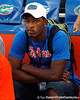 Jeremi Powell looks on before the Gators' 38-10 loss to the Alabama Crimson Tide on Saturday, October 1, 2011 at Ben Hill Griffin Stadium in Gainesville, Fla. / Gator Country photo by Tim Casey