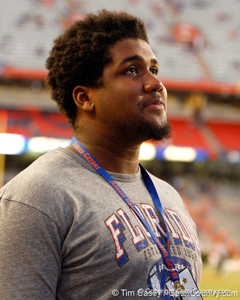 Boynton Beach offensive lineman Jessamen Dunker looks on before the Gators' 38-10 loss to the Alabama Crimson Tide on Saturday, October 1, 2011 at Ben Hill Griffin Stadium in Gainesville, Fla. / Gator Country photo by Tim Casey