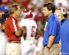 Alabama head coach Nick Saban talks with Florida head coach Will Muschamp before the Gators' 38-10 loss to the Crimson Tide on Saturday, October 1, 2011 at Ben Hill Griffin Stadium in Gainesville, Fla. / Gator Country photo by Tim Casey