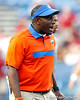 Florida defensive backs coach Travaris Robinson talks with a player before the Gators' 38-10 loss to the Alabama Crimson Tide on Saturday, October 1, 2011 at Ben Hill Griffin Stadium in Gainesville, Fla. / Gator Country photo by Tim Casey