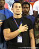 Naples (Fla.) Golden Gate linebacker Jake Berman stands for the national anthem before the Gators' 38-10 loss to the Alabama Crimson Tide on Saturday, October 1, 2011 at Ben Hill Griffin Stadium in Gainesville, Fla. / Gator Country photo by Rob Foldy