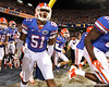 Florida redshirt freshman linebacker Michael Taylor runs onto the field before the Gators' 38-10 loss to the Alabama Crimson Tide on Saturday, October 1, 2011 at Ben Hill Griffin Stadium in Gainesville, Fla. / Gator Country photo by Tim Casey