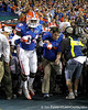 Florida redshirt junior defensive end Lerentee McCray and head coach Will Muschamp run onto the field before the Gators' 38-10 loss to the Alabama Crimson Tide on Saturday, October 1, 2011 at Ben Hill Griffin Stadium in Gainesville, Fla. / Gator Country photo by Tim Casey