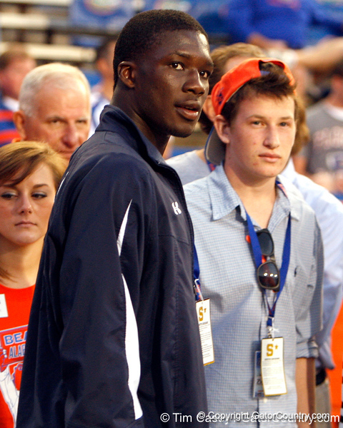 Nelson Agholor looks on before the Gators' 38-10 loss to the Alabama Crimson Tide on Saturday, October 1, 2011 at Ben Hill Griffin Stadium in Gainesville, Fla. / Gator Country photo by Tim Casey