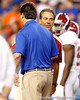 Florida head coach Will Muschamp talks with Alabama head coach Nick Saban before the Gators' 38-10 loss to the Crimson Tide on Saturday, October 1, 2011 at Ben Hill Griffin Stadium in Gainesville, Fla. / Gator Country photo by Tim Casey
