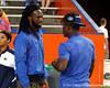Seffner (Armwood HS) running back Matt Jones talks with Kelvin Taylor before the Gators' 38-10 loss to the Alabama Crimson Tide on Saturday, October 1, 2011 at Ben Hill Griffin Stadium in Gainesville, Fla. / Gator Country photo by Tim Casey