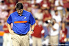 Florida head coach Will Muschamp walks across the field before the Gators' 38-10 loss to the Alabama Crimson Tide on Saturday, October 1, 2011 at Ben Hill Griffin Stadium in Gainesville, Fla. / Gator Country photo by Tim Casey