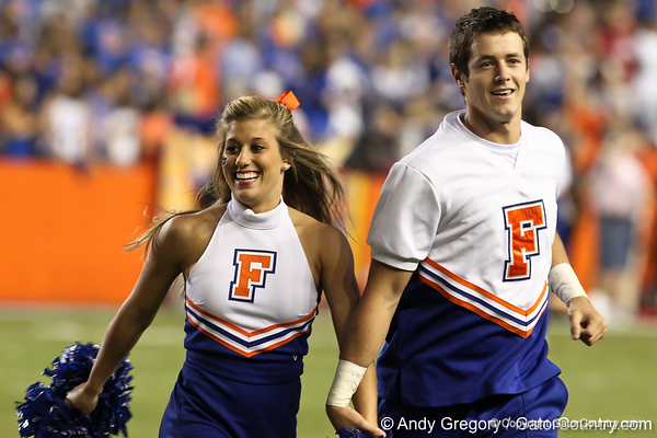 Florida cheerleaders perform before the Gators' 38-10 loss to the Alabama Crimson Tide on Saturday, October 1, 2011 at Ben Hill Griffin Stadium in Gainesville, Fla. / Gator Country photo by Andy Gregroy