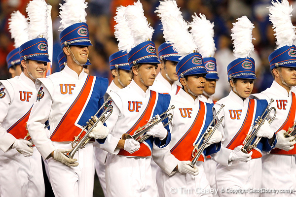The UF marching band takes the field before the Gators' 38-10 loss to the Alabama Crimson Tide on Saturday, October 1, 2011 at Ben Hill Griffin Stadium in Gainesville, Fla. / Gator Country photo by Tim Casey