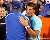 Ryan Lochte greets former Florida football player Kyle Jackson before the Gators' 38-10 loss to the Alabama Crimson Tide on Saturday, October 1, 2011 at Ben Hill Griffin Stadium in Gainesville, Fla. / Gator Country photo by Tim Casey