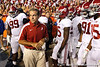 Alabama coach Nick Saban waits to take the field before the Gators' 38-10 loss to the Alabama Crimson Tide on Saturday, October 1, 2011 at Ben Hill Griffin Stadium in Gainesville, Fla. / Gator Country photo by Tim Casey