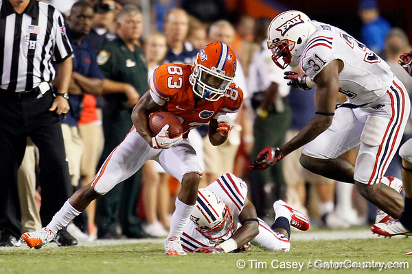Florida sophomore receiver Solomon Patton gains seven yards on a pass from Jeff Driskel during the fourth quarter of the Gators' 41-3 win against the FAU Owls on Saturday, September 3, 2011 at Ben Hill Griffin Stadium in Gainesville, Fla. / Gator Country photo by Tim Casey