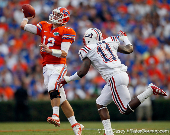 Florida redshirt senior quarterback John Brantley passes during the first quarter of the Gators' 41-3 win against the FAU Owls on Saturday, September 3, 2011 at Ben Hill Griffin Stadium in Gainesville, Fla. / Gator Country photo by Tim Casey