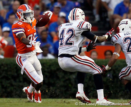 Florida redshirt junior receiver Frankie Hammond Jr. returns a punt six yards to the 32-yard line during the first quarter of the Gators' 41-3 win against the FAU Owls on Saturday, September 3, 2011 at Ben Hill Griffin Stadium in Gainesville, Fla. / Gator Country photo by Tim Casey