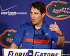 Florida head coach Will Muschamp speaks to reporters after the Gators' 41-3 win against the FAU Owls on Saturday, September 3, 2011 at Ben Hill Griffin Stadium in Gainesville, Fla. / Gator Country photo by Tim Casey