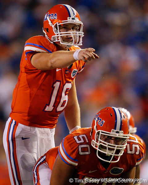 Florida freshman quarterback Jeff Driskel points out a defender during the fourth quarter of the Gators' 41-3 win against the FAU Owls on Saturday, September 3, 2011 at Ben Hill Griffin Stadium in Gainesville, Fla. / Gator Country photo by Tim Casey