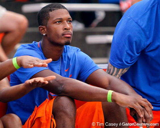 Largo (Pinellas Park HS) linebacker Jeremi Powell looks on before the Gators' 41-3 win against the FAU Owls on Saturday, September 3, 2011 at Ben Hill Griffin Stadium in Gainesville, Fla. / Gator Country photo by Tim Casey