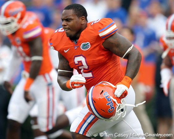 Florida sophomore defensive tackle Dominique Easley warms up before the Gators' 41-3 win against the FAU Owls on Saturday, September 3, 2011 at Ben Hill Griffin Stadium in Gainesville, Fla. / Gator Country photo by Tim Casey
