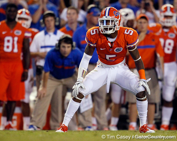 Florida freshman cornerback Marcus Roberson lines up during the third quarter of the Gators' 41-3 win against the FAU Owls on Saturday, September 3, 2011 at Ben Hill Griffin Stadium in Gainesville, Fla. / Gator Country photo by Tim Casey