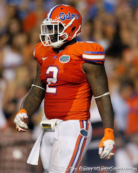 Florida sophomore defensive tackle Dominique Easley dances during the second quarter of the Gators' 41-3 win against the FAU Owls on Saturday, September 3, 2011 at Ben Hill Griffin Stadium in Gainesville, Fla. / Gator Country photo by Tim Casey