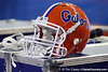 A Florida helmet rests on an equipment case during the fourth quarter of the Gators' 41-3 win against the FAU Owls on Saturday, September 3, 2011 at Ben Hill Griffin Stadium in Gainesville, Fla. / Gator Country photo by Tim Casey