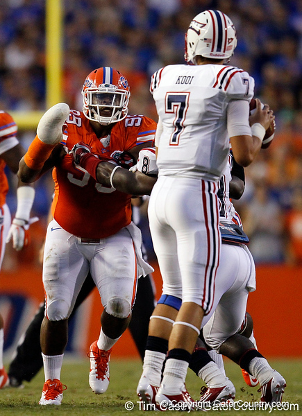 Florida redshirt junior defensive tackle Omar Hunter runs towards the quaterback during the second quarter of the Gators' 41-3 win against the FAU Owls on Saturday, September 3, 2011 at Ben Hill Griffin Stadium in Gainesville, Fla. / Gator Country photo by Tim Casey