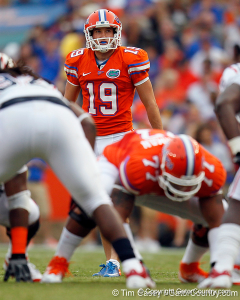 Florida redshirt junior kicker Caleb Sturgis lines up for a 51-yard field goal during the first quarter of the Gators' 41-3 win against the FAU Owls on Saturday, September 3, 2011 at Ben Hill Griffin Stadium in Gainesville, Fla. / Gator Country photo by Tim Casey