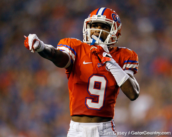 Florida redshirt freshman receiver Quinton Dunbar points to the sideline during the second quarter of the Gators' 41-3 win against the FAU Owls on Saturday, September 3, 2011 at Ben Hill Griffin Stadium in Gainesville, Fla. / Gator Country photo by Tim Casey